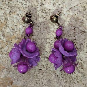 Purple flower bouquet earrings
